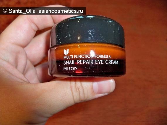 Отзывы об азиатской косметике: Улиточный крем для век Multi Function Formula Snail Repair Eye Cream от Mizon