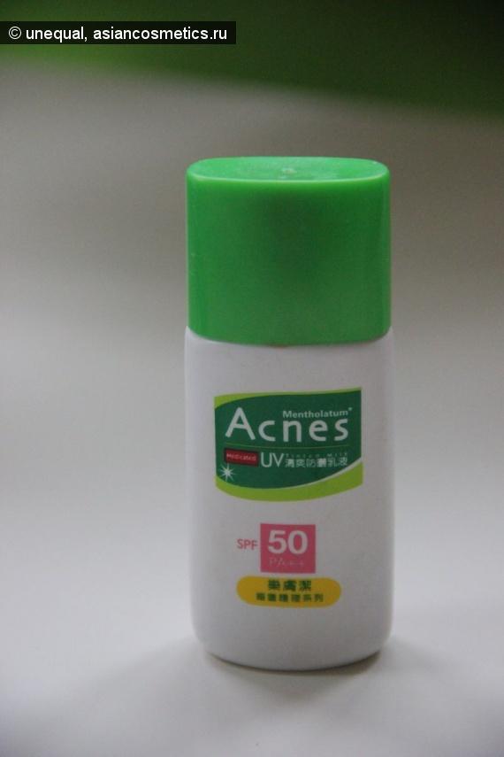 Отзывы об азиатской косметике: Матирующий крем с тональным эффектом  Mentholatum Acnes Medicated UV Tinted Milk SPF 50 PA++